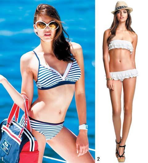 45ea26fc0e5 올해 수영복은 꽃무늬보다는 스트라이프 등으로 깨끗함을 강조한 것이 특징. 1 스포츠 브랜드 휠라가 출시한 제품이 그 모범 답안이다.  휠라는 흰색·빨간색·남색 등 ...