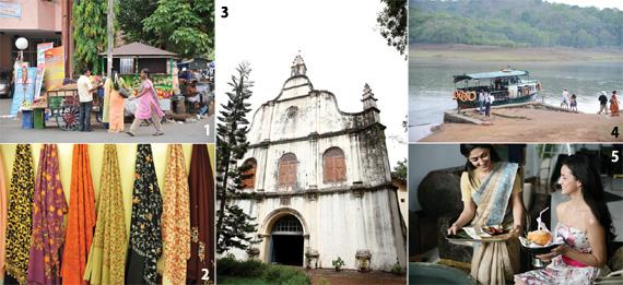 1 여유로운 남인도의 거리. 2 상점에 걸려있는 형형색색의 인도 옷들. 3 성 프란시스 성당의 전경. 4 페리야르 국립공원으로 가는 길. 5 매혹적인 남인도의 여인들.