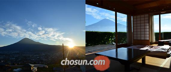 료칸 타치바나(후지노미야시)에서 바라본 후지산과 스루가만 능선의 일출 모습