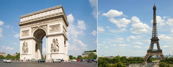 개선문과 에펠탑 전경