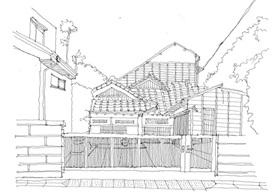 메지로 골목 안 오래된 집 스케치.