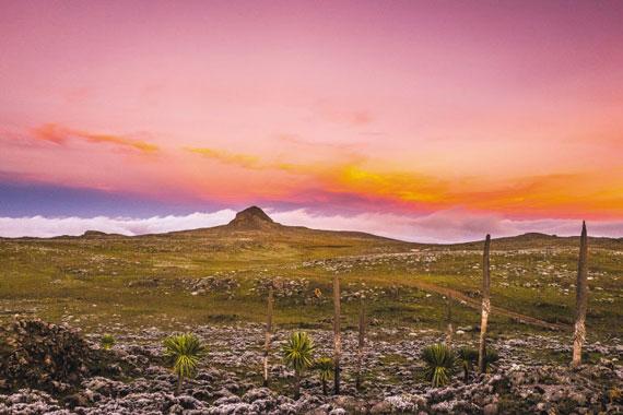 에티오피아 베일 산맥에 있는 사네티 고원에 석양이 지고 있다. 아프리카지만 고도가 높아 밤에는 기온이 영하까지 떨어진다.