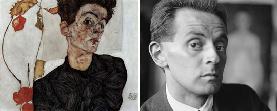 에곤 실레(오른쪽)과 1912년 22세 때 그린 자화상./레오폴드미술관·위키미디어 커먼스