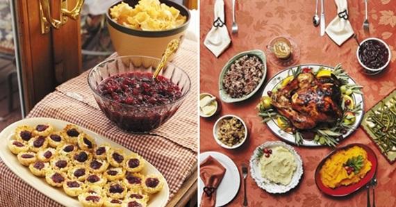크랜베리로 만든 살사 소스를 얹은 칩스(왼쪽)와 크랜베리 소스를 발라 오븐에서 구워낸 칠면조 요리(오른쪽).