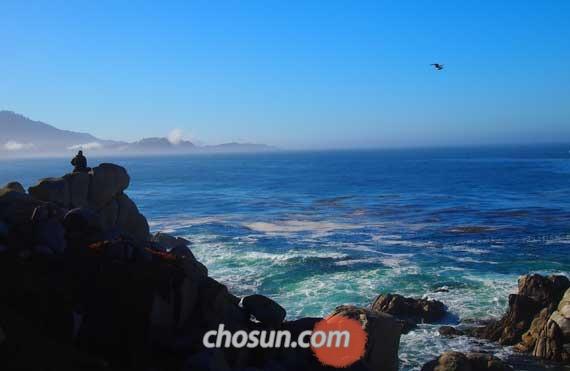 17마일 드라이브의 해안 절벽에 앉아 있는 티베트 여승