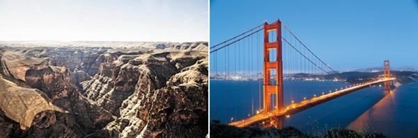 헬리콥터를 타고 본 그랜드캐니언의 풍광(왼쪽)과 샌프란시스코의 금문교.
