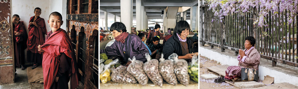 (왼쪽사진부터) 부탄은 국민 거의 100%가 불교 신자다. 동자승의 미소가 해맑다. 시장 상인의 얼굴이 진지하고 활기차다. 한 시민이 길에 앉아 기도를 하고 있다.